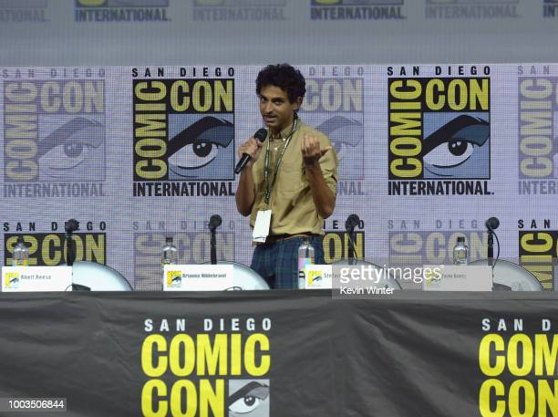 Karan Soni speaks onstage at the Deadpool 2 panel during ComicCon International 2018 at San Diego Convention Center on July 21 2018 in San Diego...