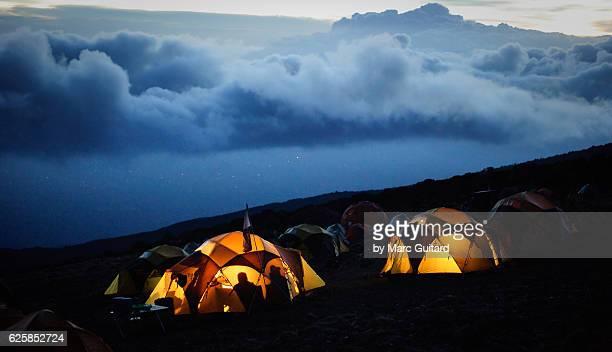 karanga camp, mount kilimanjaro, tanzania - kilimanjaro stock photos and pictures