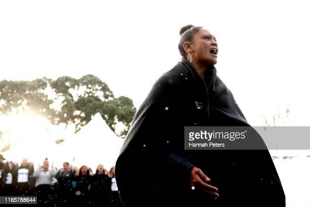 Karanga starts to welcome Kiingi Tūheitia during a powhiri to Ihumātao on August 03, 2019 in Auckland, New Zealand. The site near Auckland Airport...