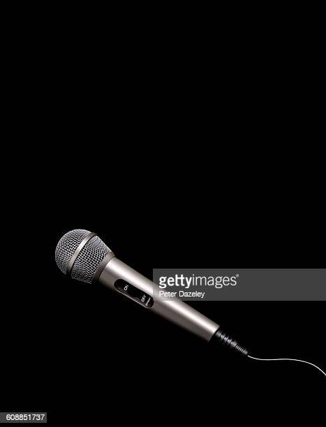 Karaoke microphone on black background