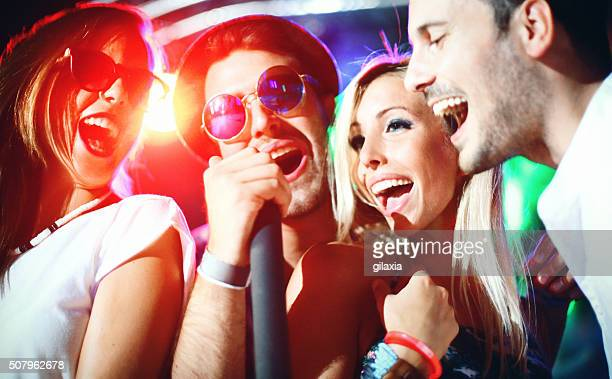 karaoke party. - karaoke stock pictures, royalty-free photos & images