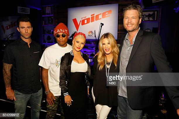 THE VOICE Karaoke Press Event Pictured Adam Levine Pharrell Williams Christina Aguilera Ellen K Blake Shelton