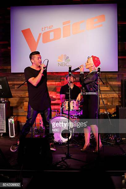 THE VOICE Karaoke Press Event Pictured Anthony Ramos Access Hollywood Christina Aguilera