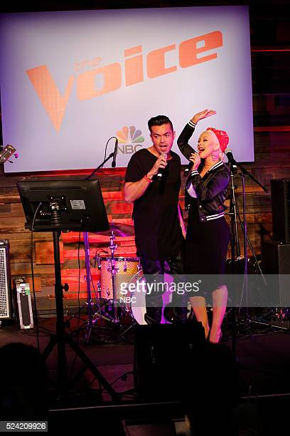 THE VOICE Karaoke Press Event Pictured Anthony Ramos Christina Aguilera