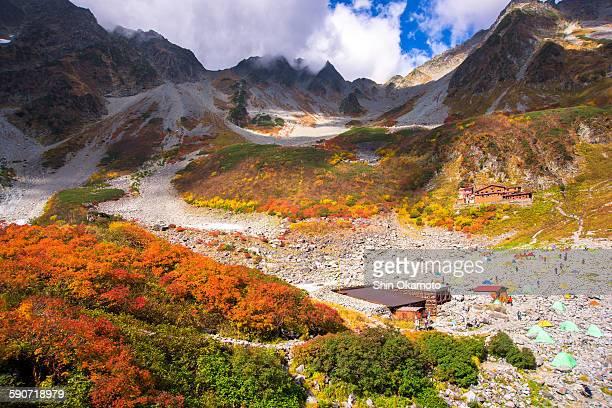 Karasawa Kar, Japanese Maple trees with mountain.