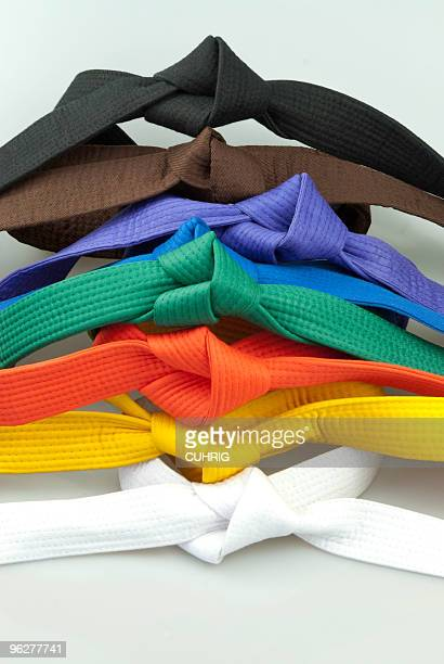 karate belts tied - obi sash stock pictures, royalty-free photos & images