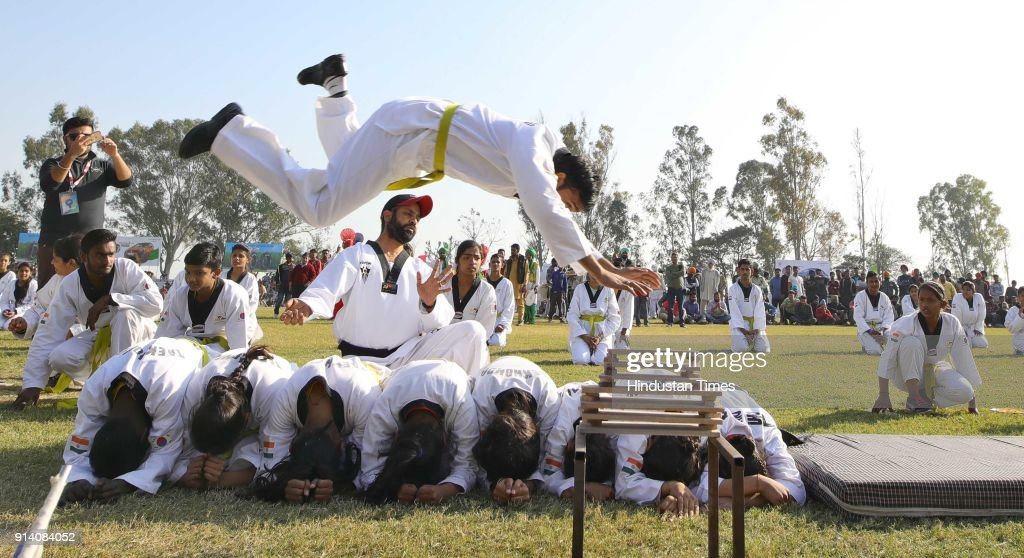 Karate club players from Patiala showing the performance on the 2nd day of the 82nd Kila Raipur Rural Olympics 2018 in the village Kila Raipur on...