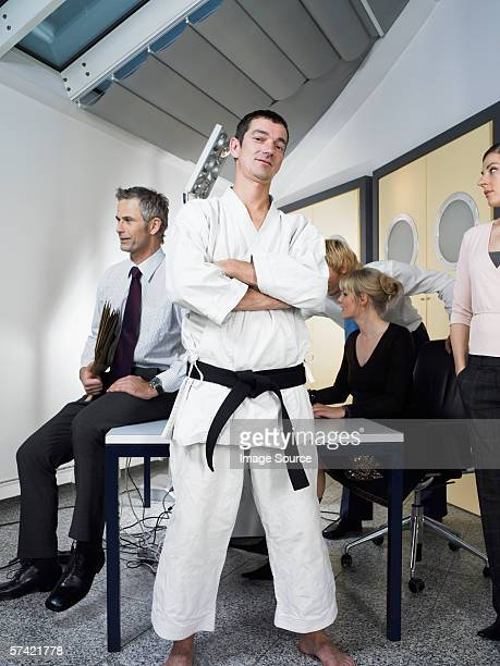 Karate instructor in office