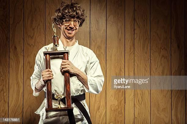Karate Nerd is Proud of His Trophy