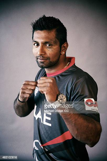 K Karate of UAE poses during the United Arab Emirates 2015 ICC Cricket World Cup Headshots Session at the Crown Metropol on February 8 2015 in...