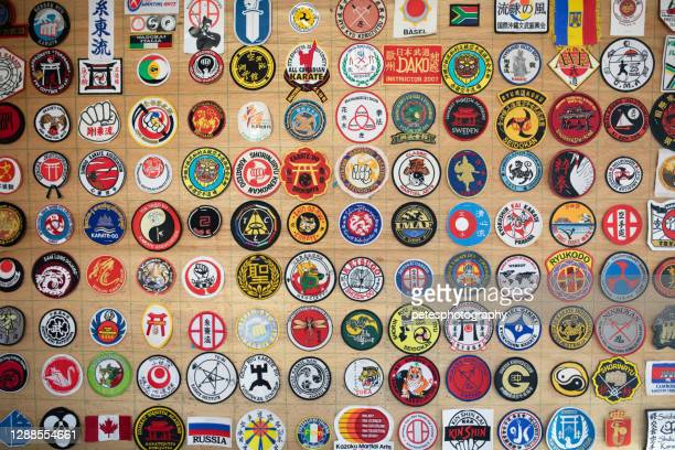 karate patches from around the world - martial arts stock pictures, royalty-free photos & images