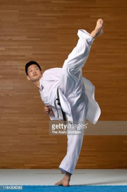 Karateka Ryutaro Araga poses for photographs during the Asahi Shimbun interview on June 24 2019 in Osaka Japan
