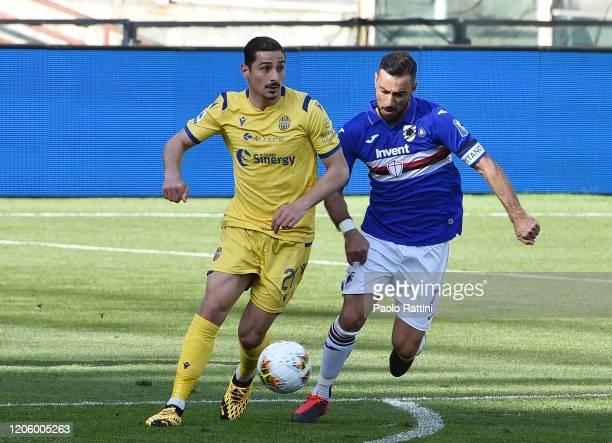 Karay Gunter of Hellas Verona and Fabio Quagliarella of UC Sampdoria during the Serie A match between UC Sampdoria and Hellas Verona at Stadio Luigi...