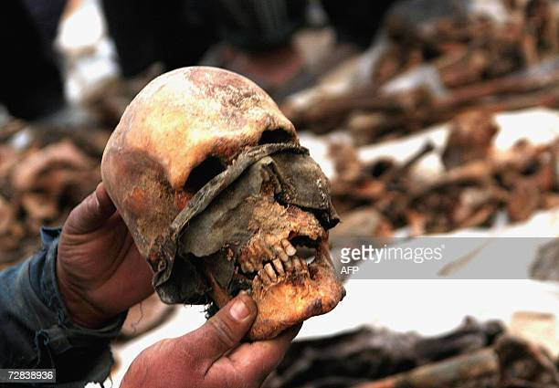 An Iraqi carries a human skull at the site of a mass grave discovered at an area 20 Km south of the holy city of Karbala central Iraq 16 December...