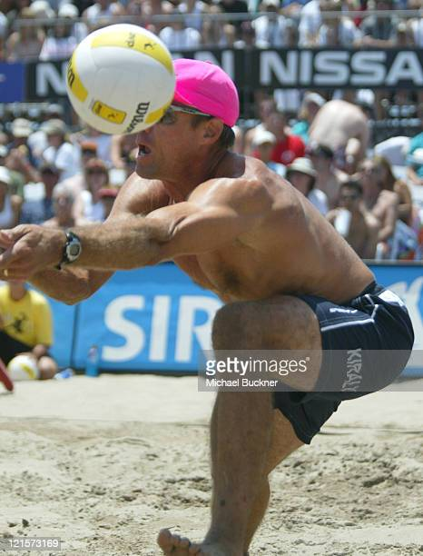 Karch Kiraly bumps the ball during the championship match against Matt Fuerbringer and Casey Jennings Kiraly and his partner Mike Lambert won the...