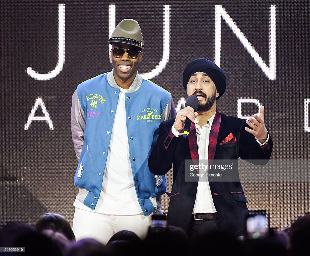 Kardinal Offishall and Jus Reign attend the 2016 Juno Awards at Scotiabank Saddledome on April 3, 2016 in Calgary, Canada.