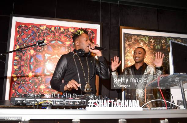 Kardinal Offishall and SHAFT actor Jessie T Usher attend the SHAFT Toronto tastemakers launch reception held Bisha Hotel on June 4 2019 in Toronto...