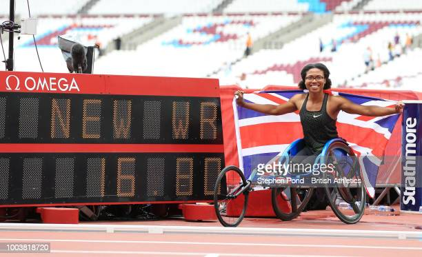 Kare Adenegan of Great Britain poses for a photo after setting the new World Record following the Women's T34 100m during Day Two of the Muller...