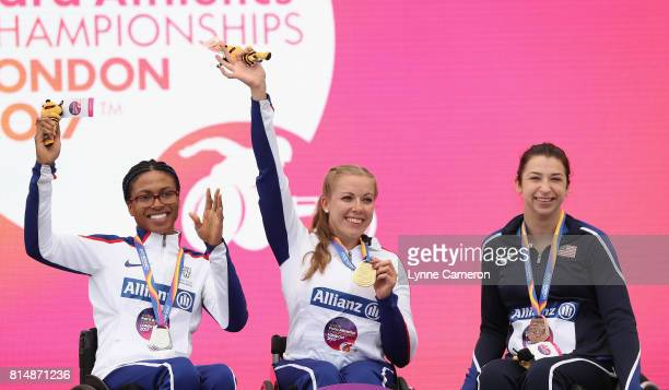 Kare Adengan of Great Britain Hannah Cockroft of Great Britain and Alexa Halko of the United States all pose with their medals they won in the...