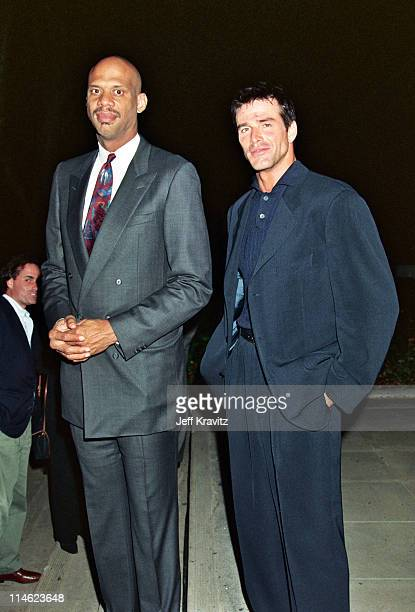Kareem Abdul Jabar and Lucky Vanous during Screening of Arthur Ashe Citizen of the World at Mann Theater in Westwood CA United States