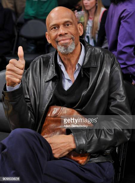 Kareem Abdul Jabbar attends a basketball game between the Los Angeles Lakers and the Boston Celtics at Staples Center on January 23 2018 in Los...