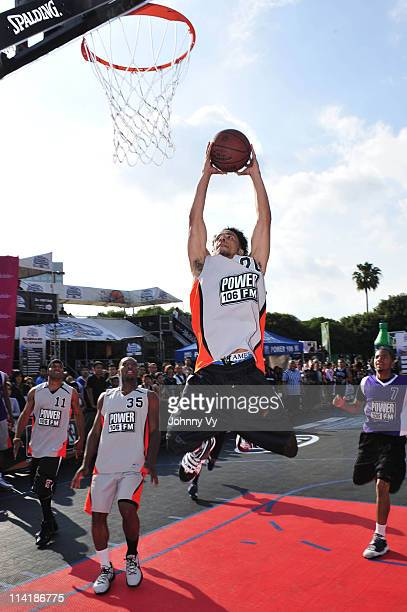 Kareem Abdul Jabbar Jr rises for a dunk during the Power 106 AllStar Game during the NBA Nation tour event at Universal City Walk on May 14 2011 in...