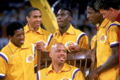 Kareem abdul jabbar of the los angeles lakers is surrounded by his picture id497217?s=170x170