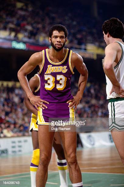 Kareem Abdul Jabbar of the Los Angeles Lakers looks on against the Boston Celtics during a game played circa 1980 at the Boston Garden in Boston,...