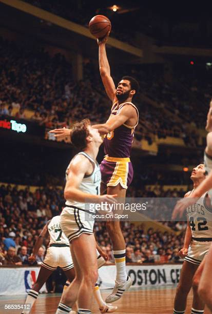 Kareem Abdul Jabbar of the Los Angeles Lakers makes a hookshot against the Boston Celtics circa the 1970's during a game