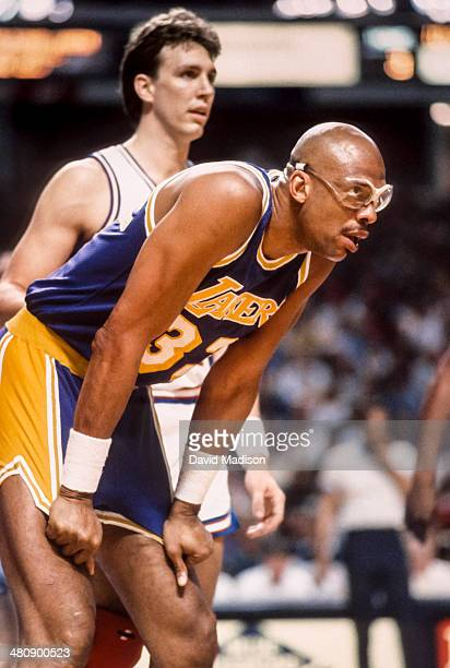 Kareem Abdul Jabbar of the Los Angeles Lakers waits for a free throw during an NBA game against the Sacramento Kings played on March 23 1989 at Arco...
