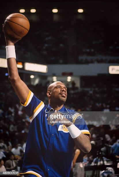 Kareem Abdul Jabbar of the Los Angeles Lakers warms up before an NBA game against the Sacramento Kings played on March 23 1989 at Arco Arena in...