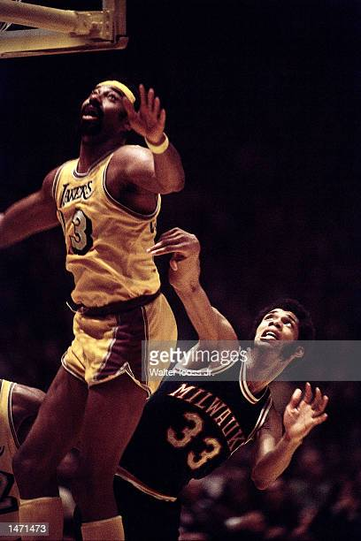 Kareem Abdul Jabbar of the Milwaukee Bucks battles for rebound against Wilt Chamberlain of the Los Angeles lakers in Los Angeles California NOTE TO...