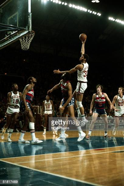 Kareem Abdul Jabbar of the Milwaukee Bucks shoots a hook shot against the Baltimore Bullets during an NBA game in 1970 in Milwaukee Wisconsin NOTE TO...