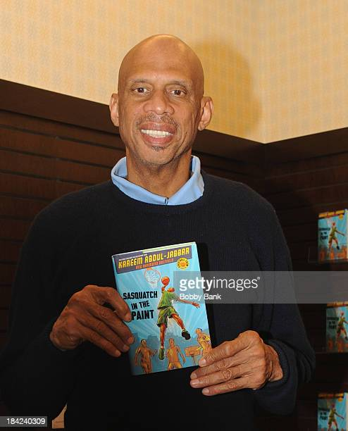 """Kareem Abdul Jabbar signs copies of his new children's book """"Sasquatch In The Paint"""" at Barnes & Noble bookstore at The Grove on October 12, 2013 in..."""