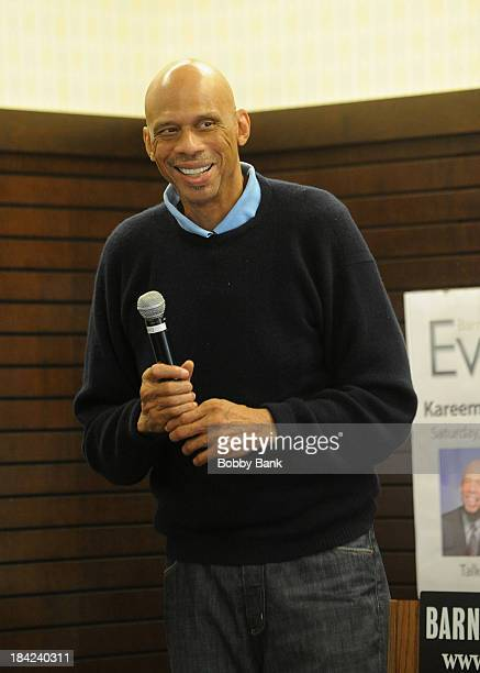 Kareem Abdul Jabbar signs copies of his new children's book Sasquatch In The Paint at Barnes Noble bookstore at The Grove on October 12 2013 in Los...