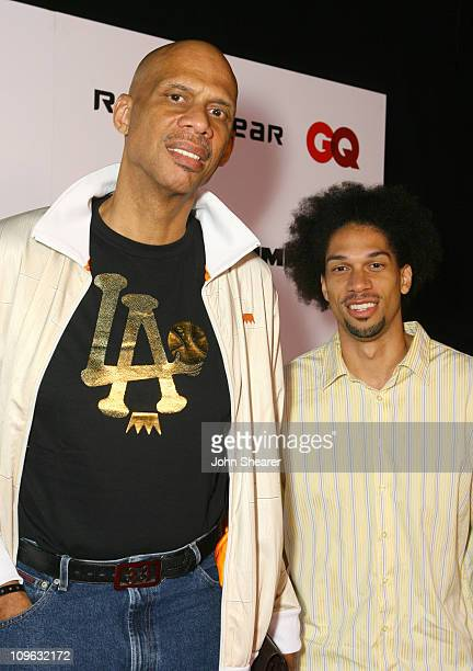 Kareem AbdulJabar and Kareem AbdulJabar Jr during JayZ Album Release Party for Kingdom Come Hosted by GQ and Rocawear Red Carpet at Area in Hollywood...