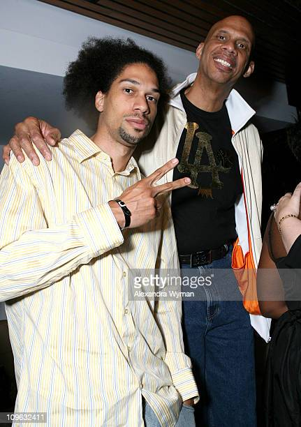 Kareem AbdulJabar Jr and Kareem AbdulJabar during JayZ Album Release Party for Kingdom Come Hosted by GQ and Rocawear Inside at Area in Los Angeles...