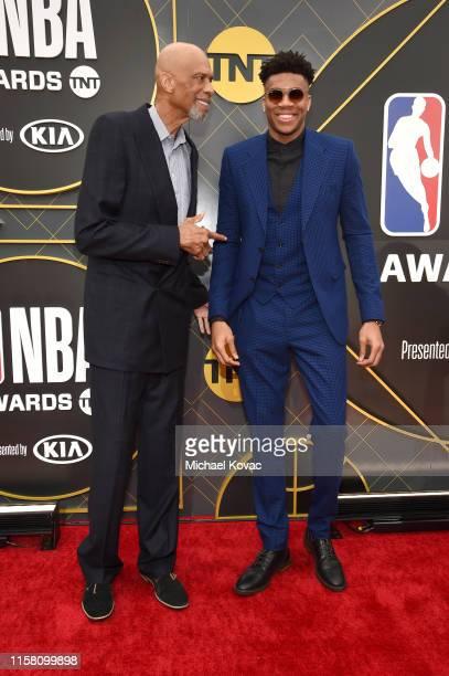 Kareem AbdulJabbar and Giannis Antetokounmpo attend the 2019 NBA Awards presented by Kia on TNT at Barker Hangar on June 24 2019 in Santa Monica...