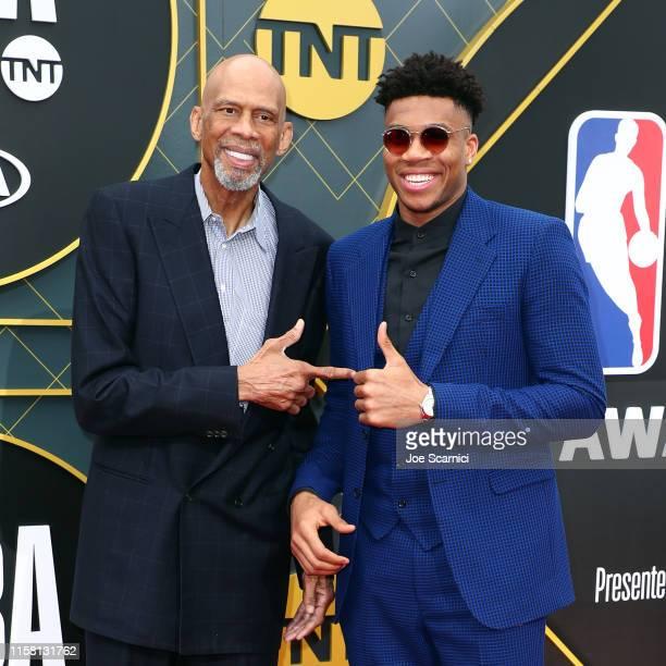 Kareem AbdulJabbar and Giannis Antetokounmpo attend the 2019 NBA Awards presented by Kia at Barker Hangar on June 24 2019 in Santa Monica California