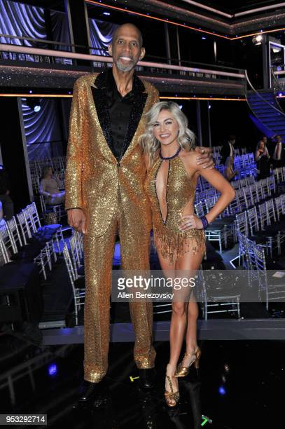 Kareem AbdulJabbar and Lindsay Arnold attend ABC's Dancing With The Stars Athletes Season 26 show on April 30 2018 in Los Angeles California