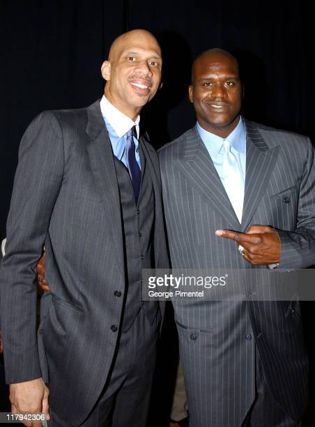 Kareem AbdulJabbar and Shaquille O'Neal during TNT Sports Presents the American Express Magic Johnson All Star Celebration at Shrine Auditorium in...