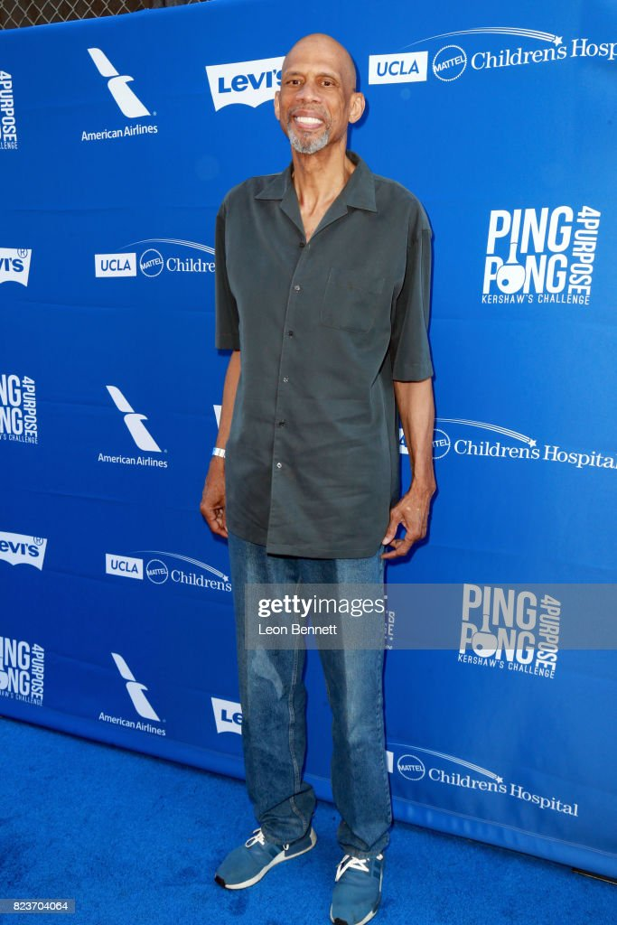 Kareem Abdul-Jabbar at Clayton Kershaw's 5th Annual Ping Pong 4 Purpose Celebrity Tournament at Dodger Stadium on July 27, 2017 in Los Angeles, California.