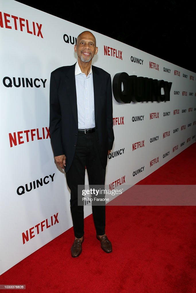 Kareem Abdul-Jabbar attends the premiere of Netflix's 'Quincy' at Linwood Dunn Theater on September 14, 2018 in Los Angeles, California.