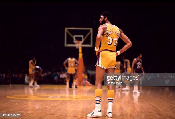 Kareem Abdul-Jabbar, Center, of the Los Angeles Lakers takes a momentary break during an NBA basketball game between the Los Angeles Lakers and the...