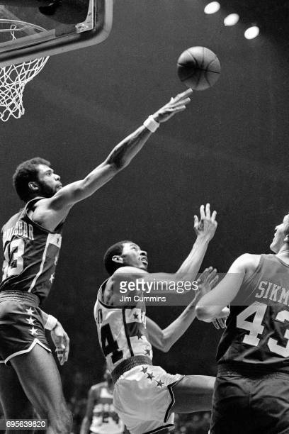 Kareem AbdulJabbar defends during the 1980 NBA AllStar Game played on February 3 1980 at the Capital Center in Landover Maryland NOTE TO USER User...