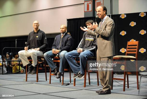 Kareem AbdulJabbar Derek Fisher Adam Morrison and Joel Myers participate during the Los Angeles Lakers Fan Jam at the Convention Center on March 21...