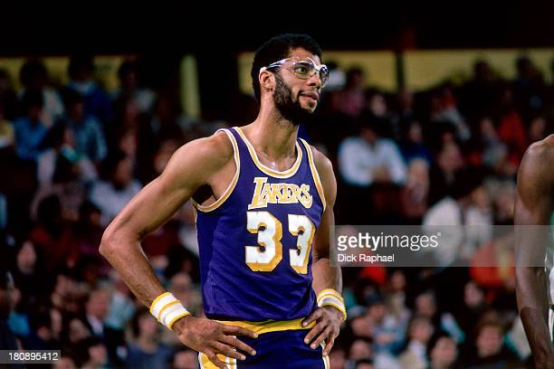 Kareem AbdulJabbar of the Los Angeles Lakers awaits a foul call during a game circa 1981 at the Boston Garden in Boston Massachusetts NOTE TO USER...