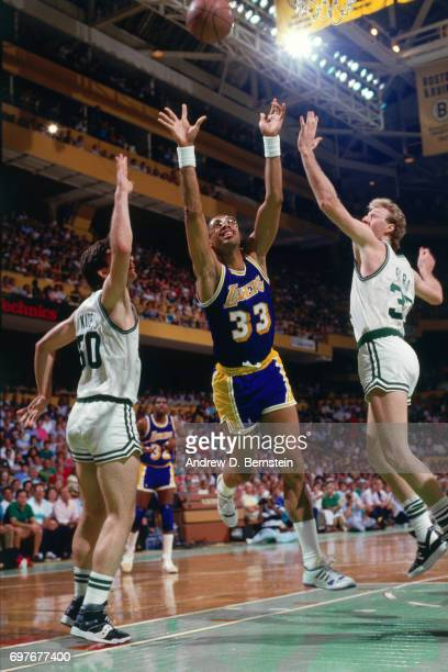 Kareem AbdulJabbar of the Los Angeles Lakers goes up for a rebound against the Boston Celtics during the 1987 NBA Finals circa 1987 at the Boston...