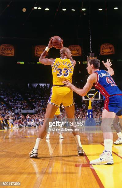 Kareem AbdulJabbar of the Los Angeles Lakers handles the ball during a game played circa 1989 at the Great Western Forum in Inglewood California NOTE...
