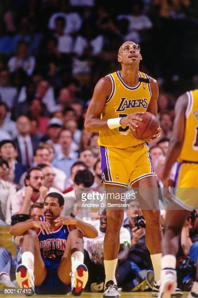 Kareem AbdulJabbar of the Los Angeles Lakers looks on during a game played circa 1989 at the Great Western Forum in Inglewood California NOTE TO USER...